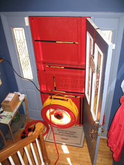 Blower door test for Bluffton homes